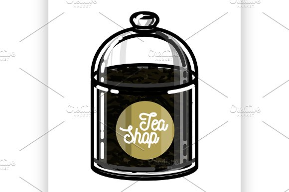 Color Vintage Tea Shop Emblem