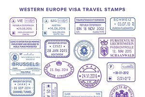 Travel visa stamps Western Europe