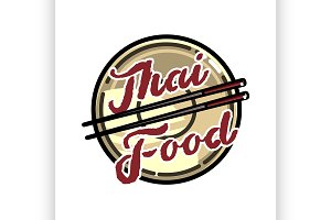 Color vintage thai food emblem