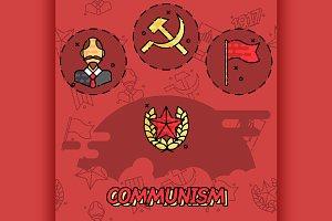 Communism flat concept icons