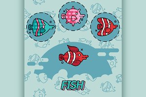 Fish flat concept icons