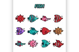 Fish cartoon concept icons