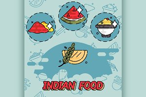 Indian food flat concept icons