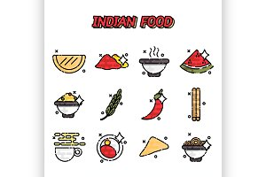 Indian food cartoon concept icons
