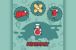 Pharmacy flat concept icons