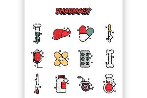Pharmacy cartoon concept icons