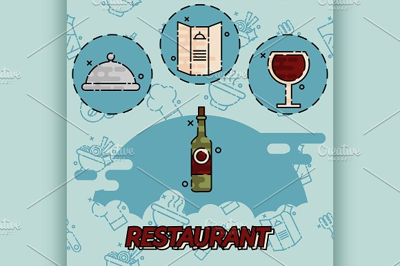 Restaurant Flat Concept Icons