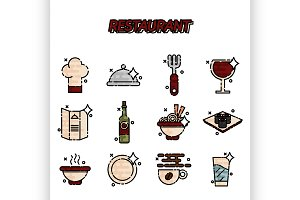 Restaurant cartoon concept icons