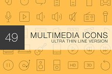 Multimedia Ultra Line icon set