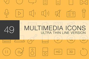 Multimedia Ultra Line icon set