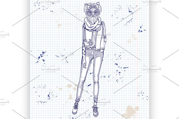 Sketch Of A Model With A Dogs Head