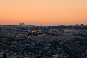 Jerusalem panoramic sunset view