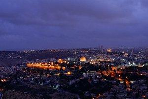 Night falls over Jerusalem city