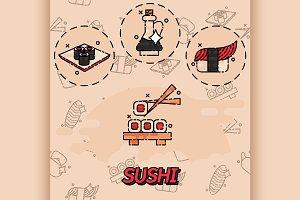 Sushi flat concept icons