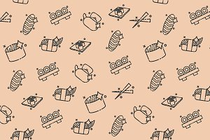 Sushi concept icons pattern