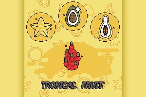 Tropical fruit flat concept icons