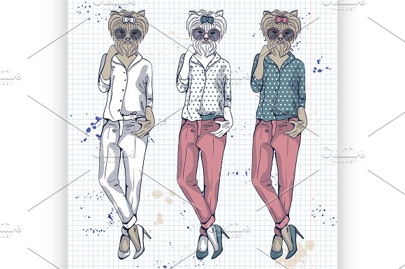 Vector Set Of 3 Model With Dog Head