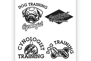 Color vintage cynologist emblems