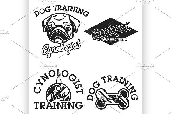 Color Vintage Cynologist Emblems