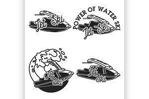 Vintage jet ski emblems