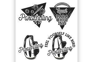 Vintage parachuting emblems
