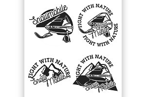 Vintage snowmobile emblems
