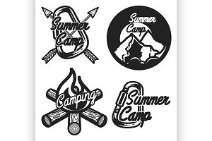 Vintage summer camp emblems