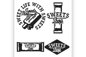 Vintage sweets shop emblems