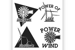 Vintage wind power emblems