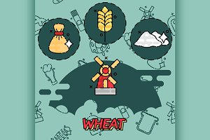 Wheat flat concept icons