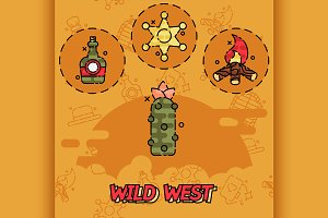 Wild west flat concept icons