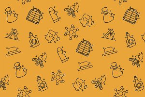 Wild west concept icons pattern