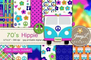 70's Hippie Digital Paper Clipart