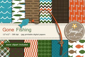 Fishing Digital papers & clipart