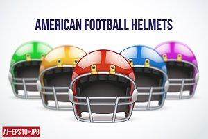 Set of American Football Helmets