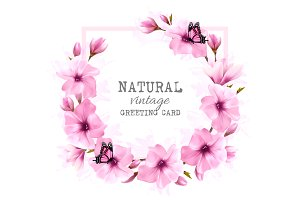 Nature background with pink flowers