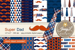 Father's Day Digital Papers  Clipart