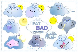 Cute Weather Emoji Vector Clipart