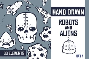 Hand Drawn Robots and Aliens - Set 1
