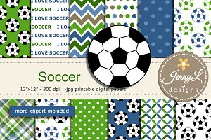 Soccer Digital Papers Clipart