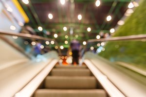 Blurred moving escalator