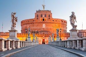 Saint Angel castle and bridge, Rome, Italy