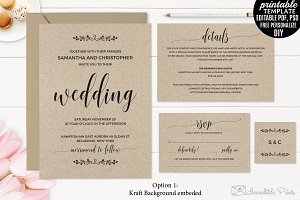 Kraft Paper Wedding Invitation Set