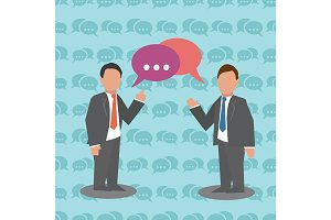 Communication Two businessmen with speech bubble