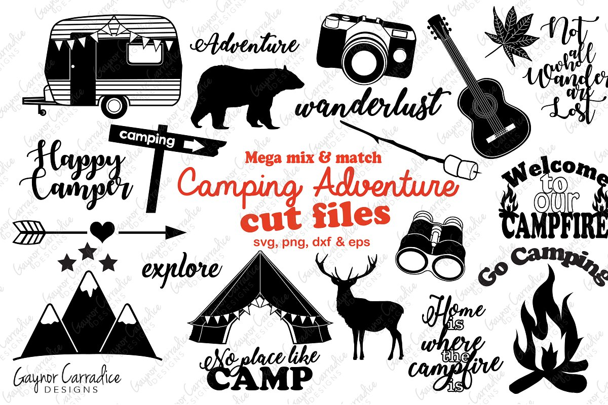 Camping silhouette. Collection illustrations creative market