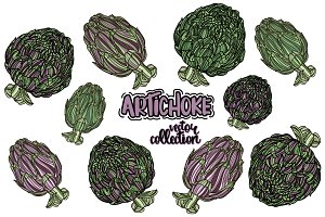 Artichoke vector collection
