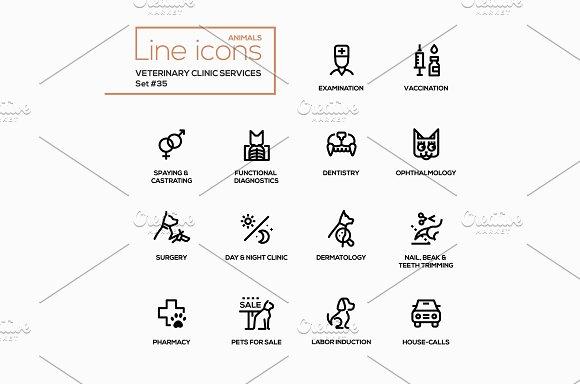 Vet Clinic Services Pictograms Set