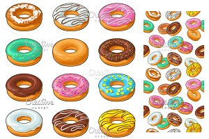 Set donut with different icing, glaze, stripes, sprinkles.