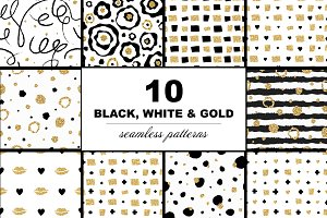 10 Black, white and gold patterns