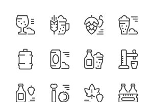 Set line icons of beer